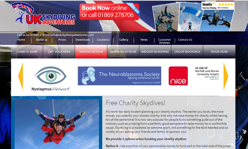 Fancy doing a sky dive for Nystagmus Network?
