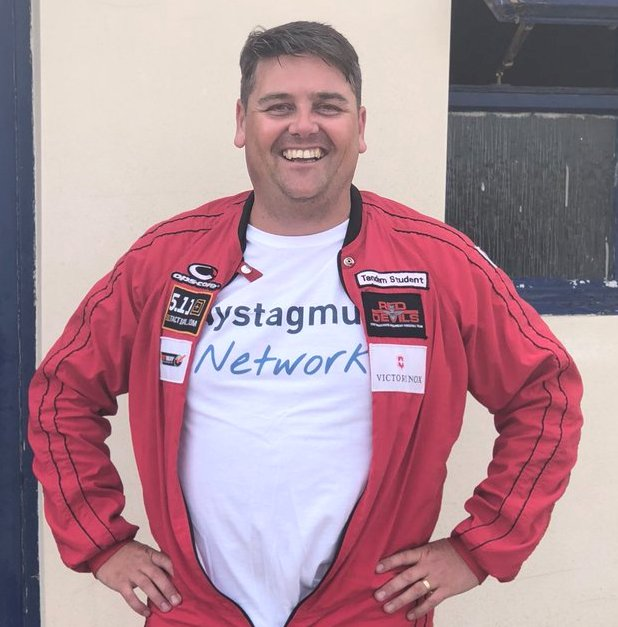 Simon in Nystagmus Network T shirt.