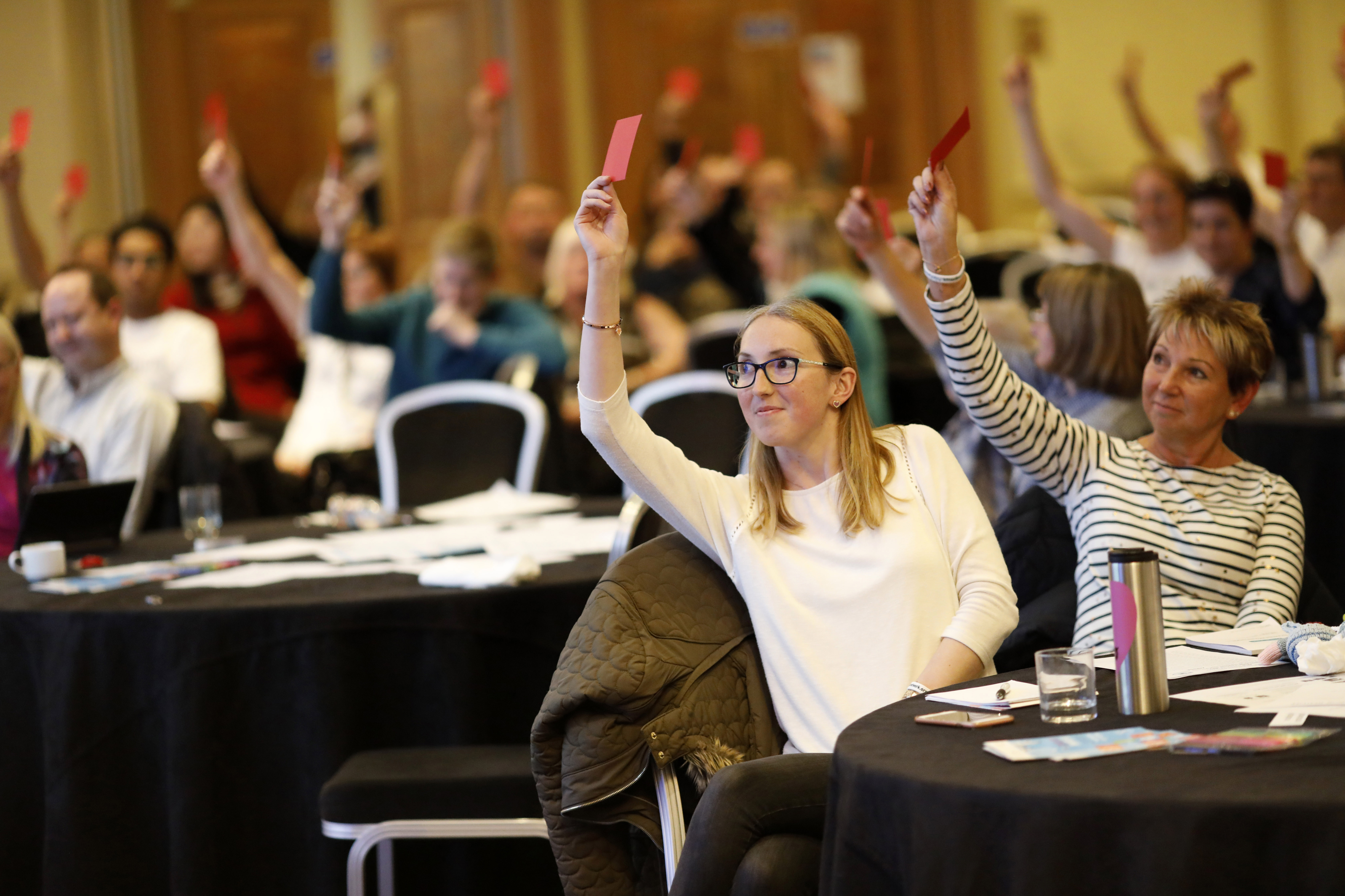 Nystagmus Network members hold up their voting cards.
