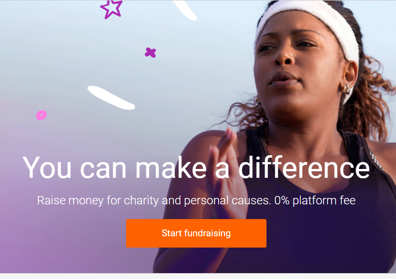 Screenshot of Justgiving website.