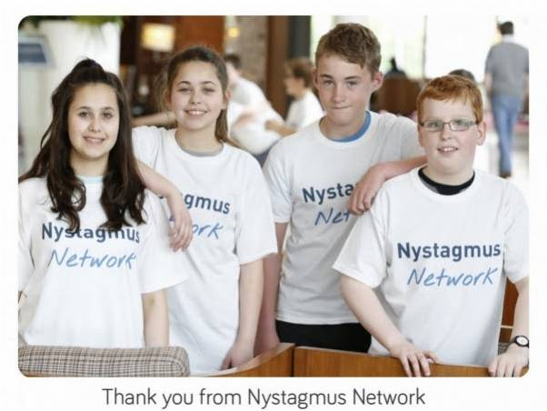 Children wearing Nystagmus Network T shirts and the words Thank you from Nystagmus Network.