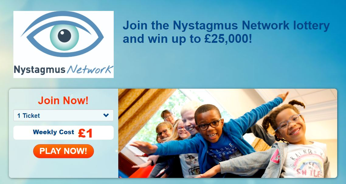 A postcard advertising the Nystagmus Network weather lottery.