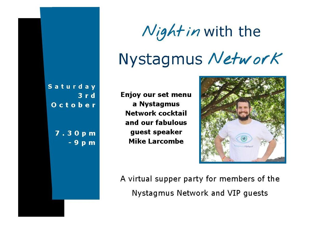 a postcard advertising the Night in with the Nystagmus Network