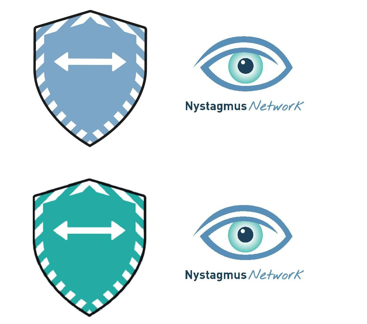 2 distance shields alongside 2 Nystagmus Network logos.