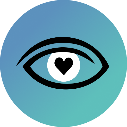 The logo of the Instagram account @NystagmusYouth. A blue circle with the Nystagmus Network eye logo and a heart shaped pupil in the centre of the iris.