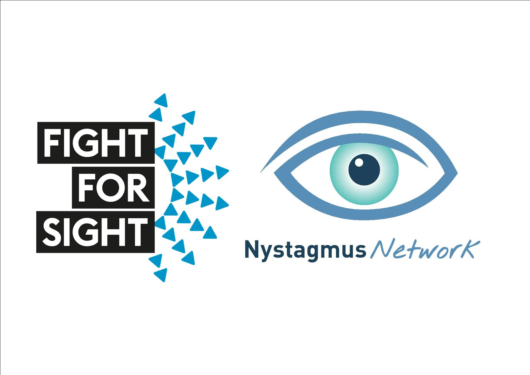 The logos of Fight for Sight and the Nystagmus Network