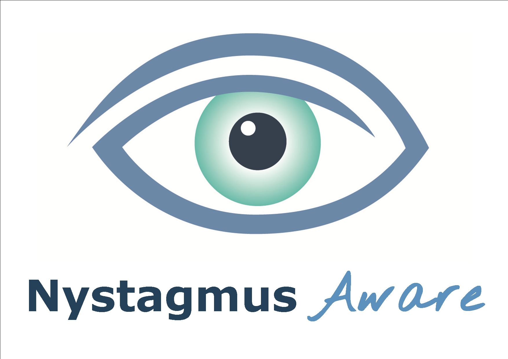The eye logo of the Nystagmus Network and the words nystagmus aware.
