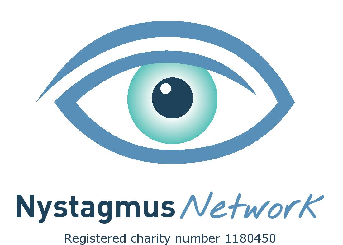The eye logo of the Nystagmus Network and the words Registered Charity Number 1180450.