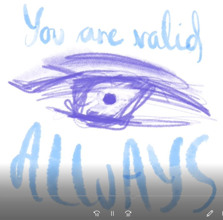 A graphic of an eye with moving eyeball and the words 'you are valid always'