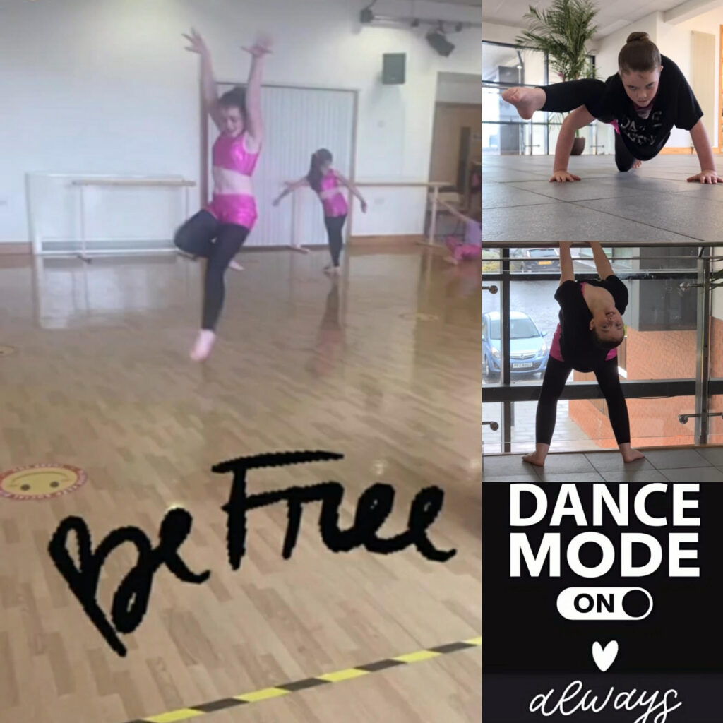 A series of images of Poppy showing off her dance moves and the words 'be free' and 'dance mode always on'.