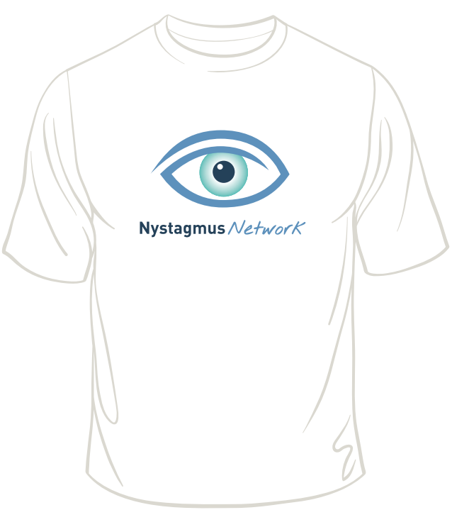 A Nystagmus Network T shirt with the charity logo on the front.