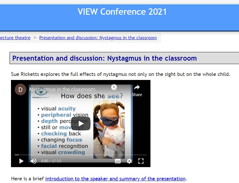 A screen shot of the Nystagmus Network presentation at the VIEW conference 2021