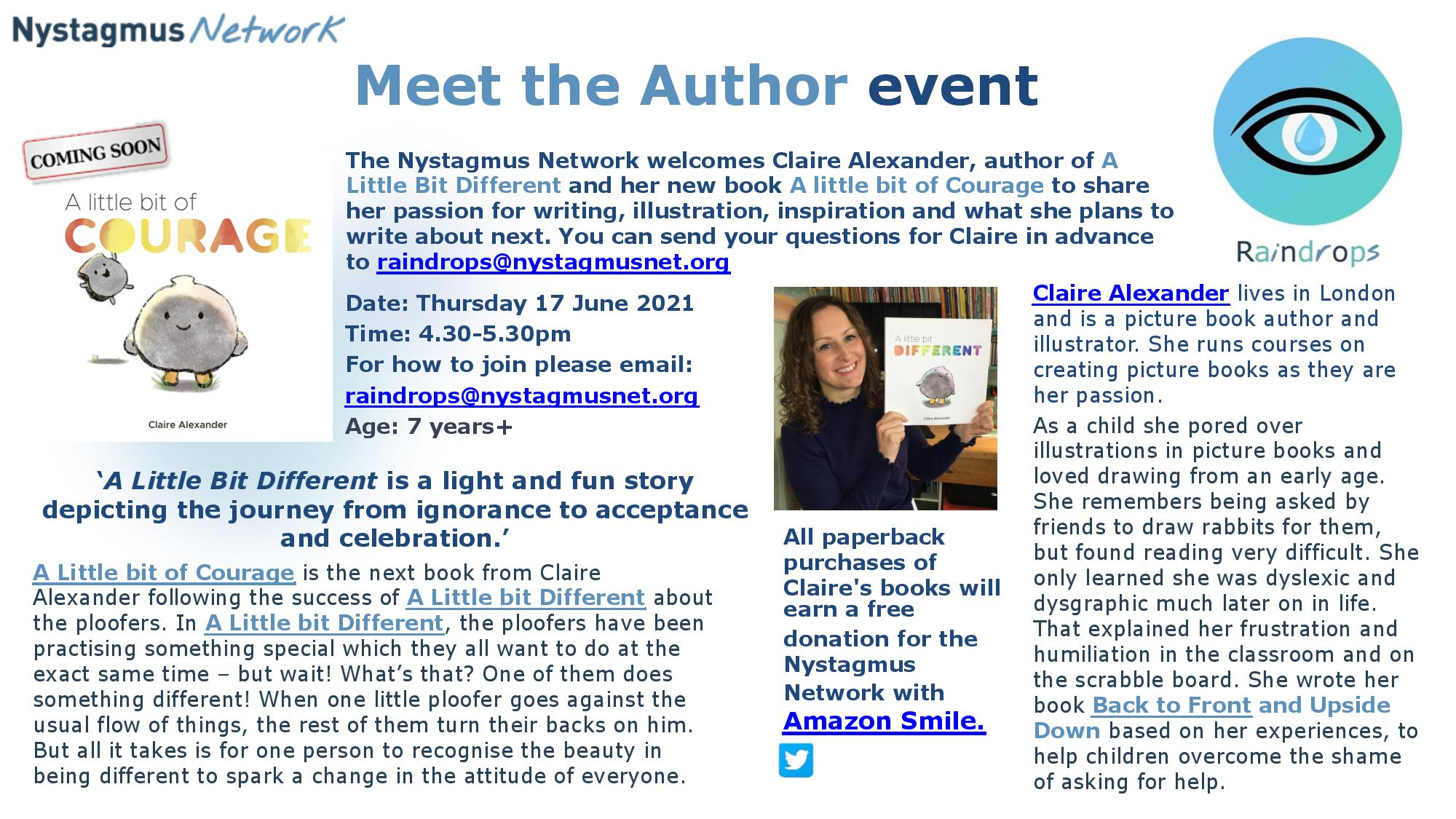 A poster advertising the Nystagmus Network free workshop with children's author, Claire Alexander