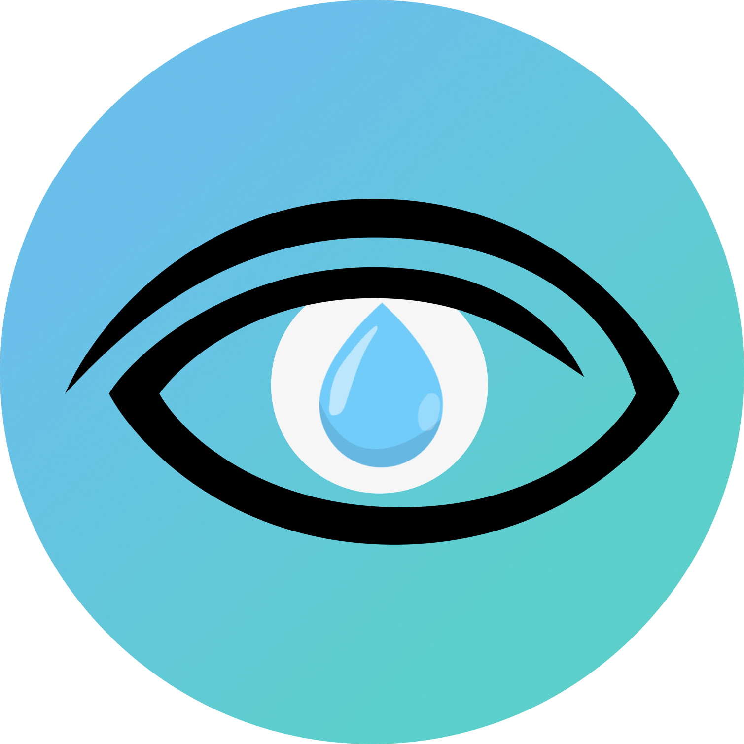 Raindrops logo featuring a drop of rain in the centre of the eye