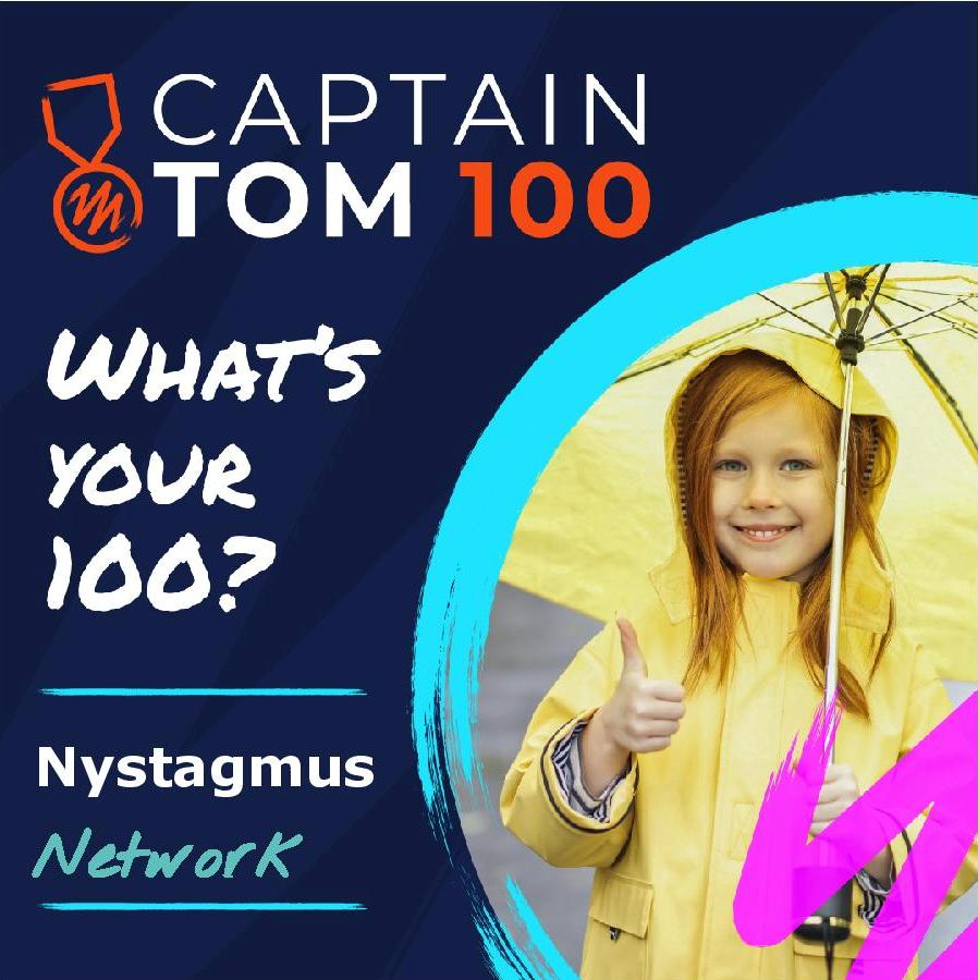 The logo of the Captain Tom 100 challenge for the Nystagmus Network featuring an image of a girl in a yeloow rain hat and cat, with a yellow umbrella doing the thumbs up.