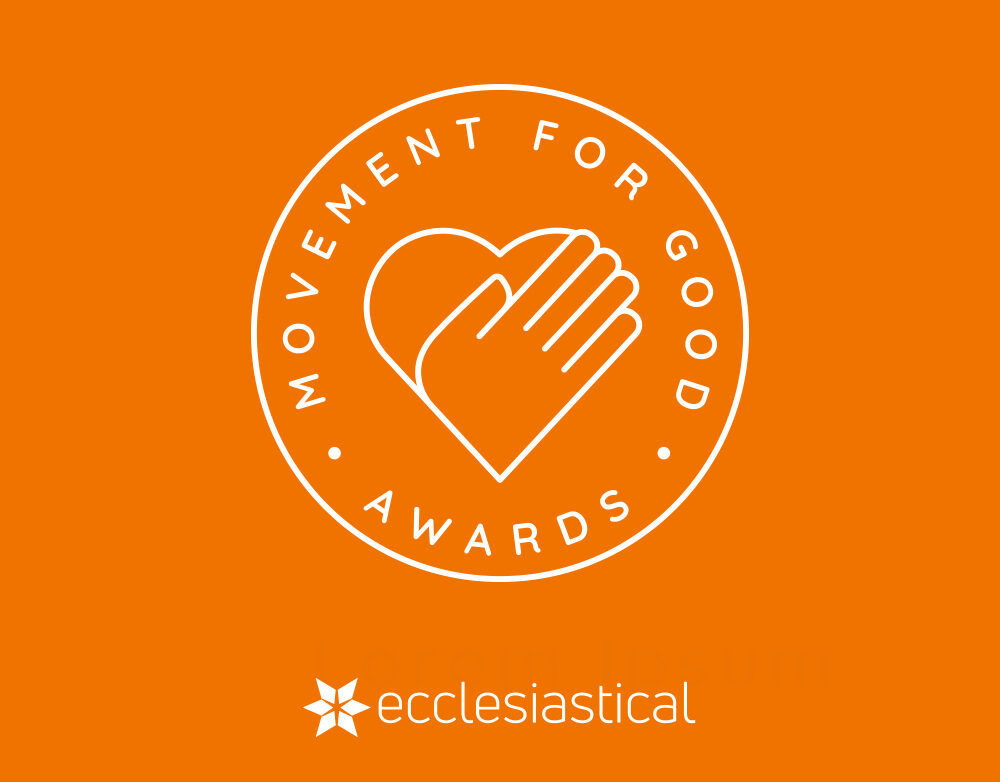 The logo of Ecclesiastical Movement for Good - a hand over a heart on an orange background.