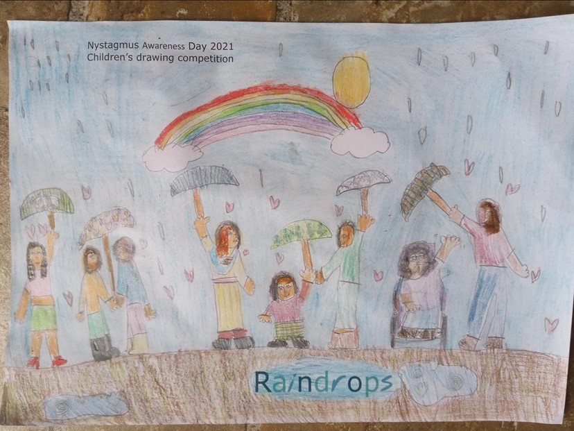 A drawing of children playing in the rain under a rainbow