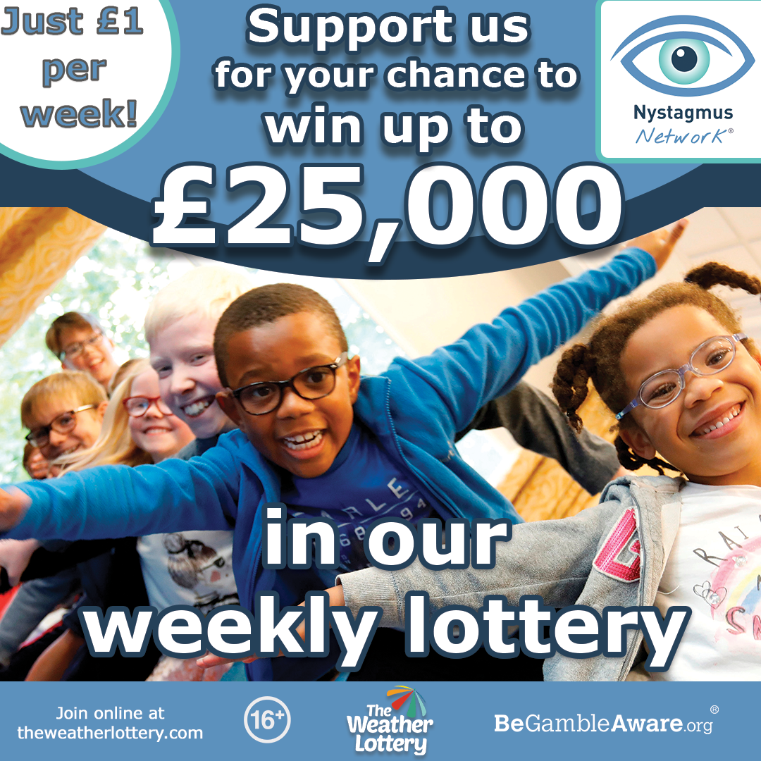 A flyer for the Nystagmus Network weather lottery.