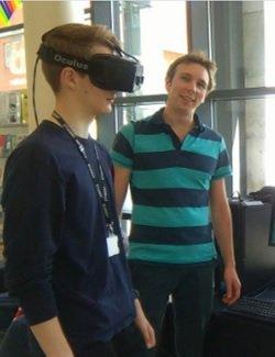 David Randall testing the VR head set